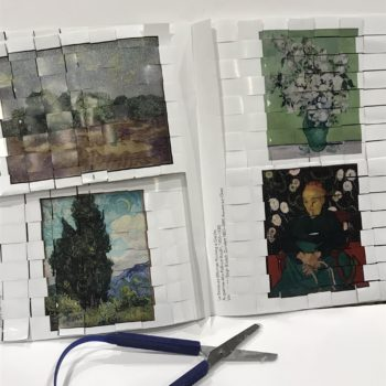 Inside completed pages of In-Book PaperWeaving Van Gogh